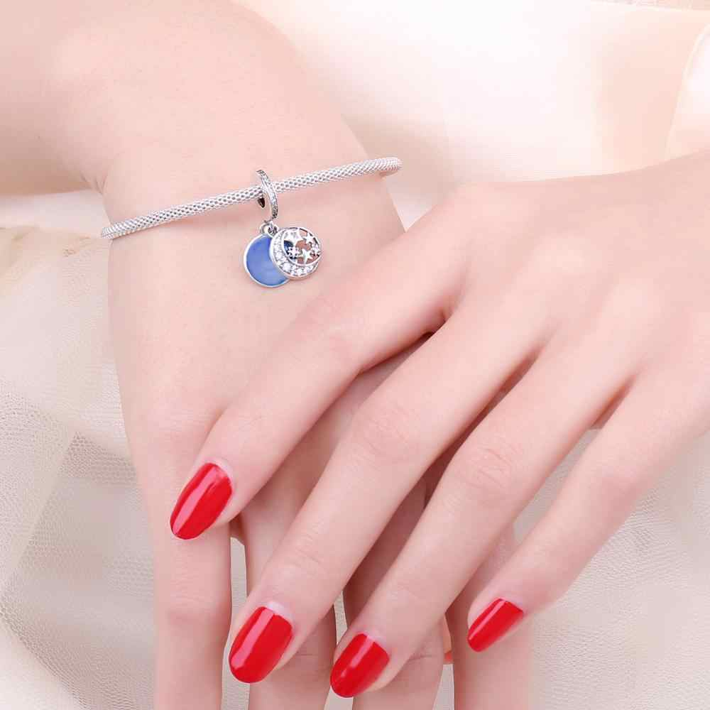 JewelryPalace Blue Moon Star 925 ลูกปัดเงินแท้เงิน 925 สำหรับสร้อยข้อมือเงิน 925 เครื่องประดับทำ