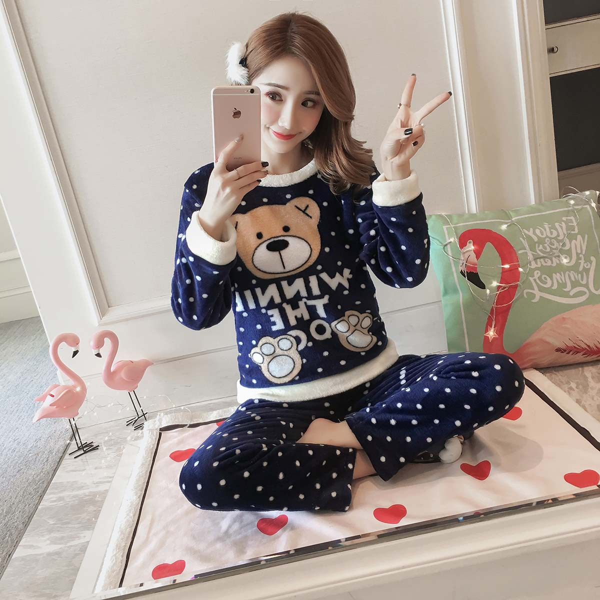 [According Feminine] Autumn And Winter Pajamas Women Long Sleeve Set Flannel Cartoon Thick Home Wear Dark Blue Dotted Bear