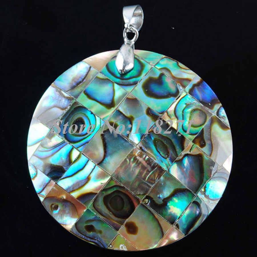 Wojiaer Alami Baru Zelanian Abalone Shell Mutiara Batu Permata Bulat Manik-manik Liontin Anting-Anting Set Perhiasan PQ3001