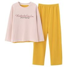 Jimiko cotton pajamas long-sleeved women set round neck cartoon print female sleepwear of casual home clothing autumn