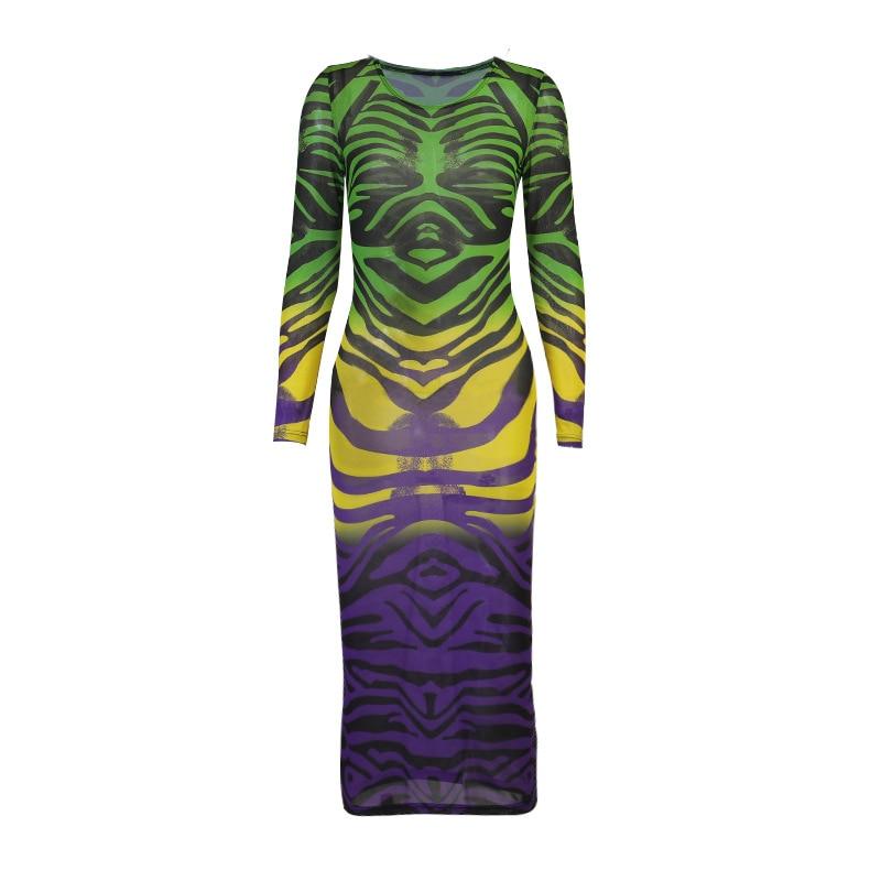 Hawthaw Women Autumn Long Sleeve Printed Mesh See Through Bodycon Dress 2021 Fall Female Clothing Streetwear Wholesale Items 6