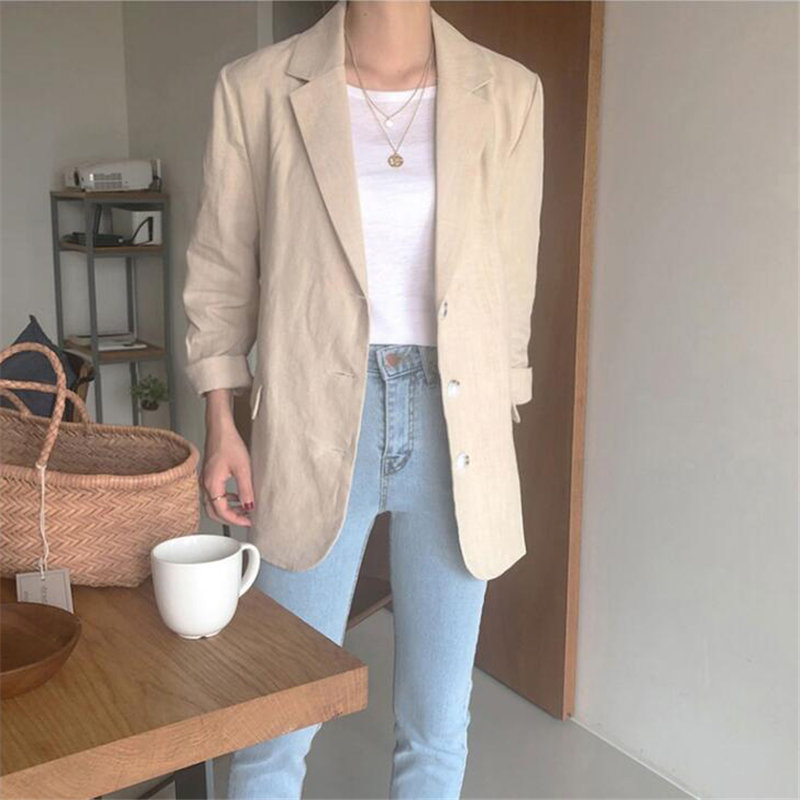 HziriP Fashion New Professional Thin Slimming Casual 2019 Korea Autumn Linen Plus Size Chic Female Brief Office Ladies Blazers