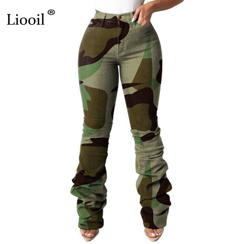 Liooil Womens Camouflage Print High Waist Ruched Jeans With Pockets Sexy Ladies Trousers Camo Elastic Skinny Denim Jean Pants