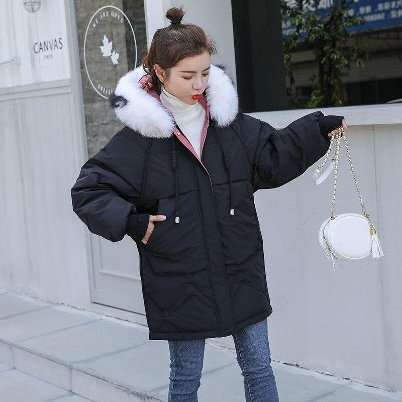 Winter Women White Duck Down Parka Warm Big Real Fox Fur Collar Hooded Jacket Overcoat Female Loose Snow Down Outerwear