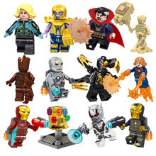 Blocchi di costruzione Fit Legoingly Mini 1Pcs Action Arma Figure Super Marvel Heroes THOR ANT UOMO MS. MARVEL THANOS Giocattoli Per Bambini Regali(China)