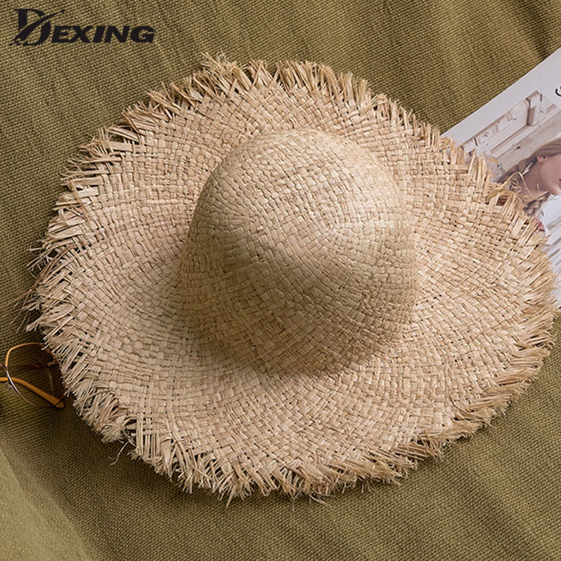Handmade Women Straw Sun Hats Wide Brim Gilrs Natural Raffia Panama Beach Straw Sun Caps For Holiday