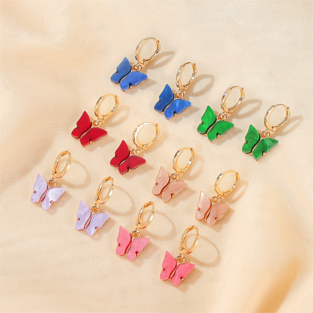 Koreanische Temperament Bunte Arcylic Schmetterling Ohrringe 2020 Sommer <font><b>Gold</b></font> Farbe Metall Grün Rosa Schmetterlinge Drop Ohrringe Schmuck image