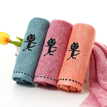 Towel Bamboo Fiber Fabric Plain Color Embroidery Small Black Cat Thick Towel Bathing Shower Towel Towel Strong Water Absorbing towel bamboo true navy production of ecotex russian companies