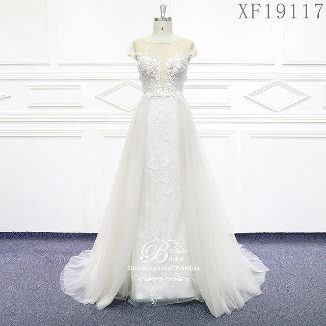 فساتين زفاف 2020 مصنوعة حسب الطلب Vestido De Noiva الأميرة خمر زينة مطرز الدانتيل الزفاف حجم كبير XF19117