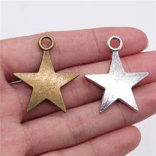 Wysiwyg 2 pçs 35x29mm 2 cores antigo cor de prata bronze antigo chapeado estrelas charme grande estrela pingentes charme liga estrela charme