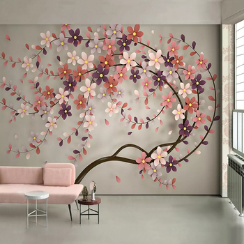 цены Custom 3D Photo Wallpaper Flower Tree Wall Painting Wallpapers For Living Room Restaurant Bedroom Large Mural Wall Paper Floral
