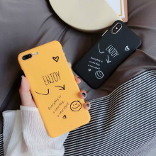 For iPhoneXsMax mobile phone shell Apple 8 simple smiling face love letter arrow frosted half package 6S case