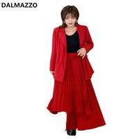 2019 Newest Autumn Designer Fashion Women Red Pocket Double breasted Coat + Irregular Half Skirt 2 Pieces Set Ladies Runway Suit