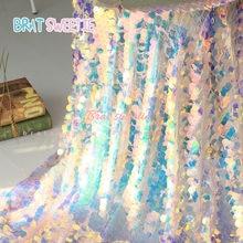 Toalhas de mesa sereia iridescente, rendas de unicórnio festa de casamento, chá de bebê, aniversário, bordado, malha, glitter, tecido, lantejoulas