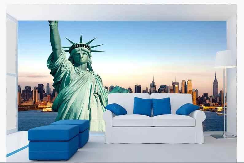 CUSTOM 3D ภาพจิตรกรรมฝาผนังวอลล์เปเปอร์ยุโรปสถาปัตยกรรมวอลเปเปอร์ภาพ 3D รูปปั้นของ Liberty ไวนิลวอลล์เปเปอร์