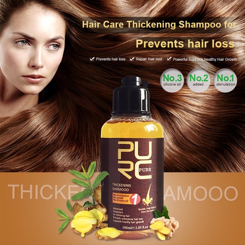 PURC Anti-Loss Hair Ginger Shampoo 100ml Thickening Shampoo Hair Growth Essence Oil Hair Loss Treatment Hair Regrowth Hair Care image