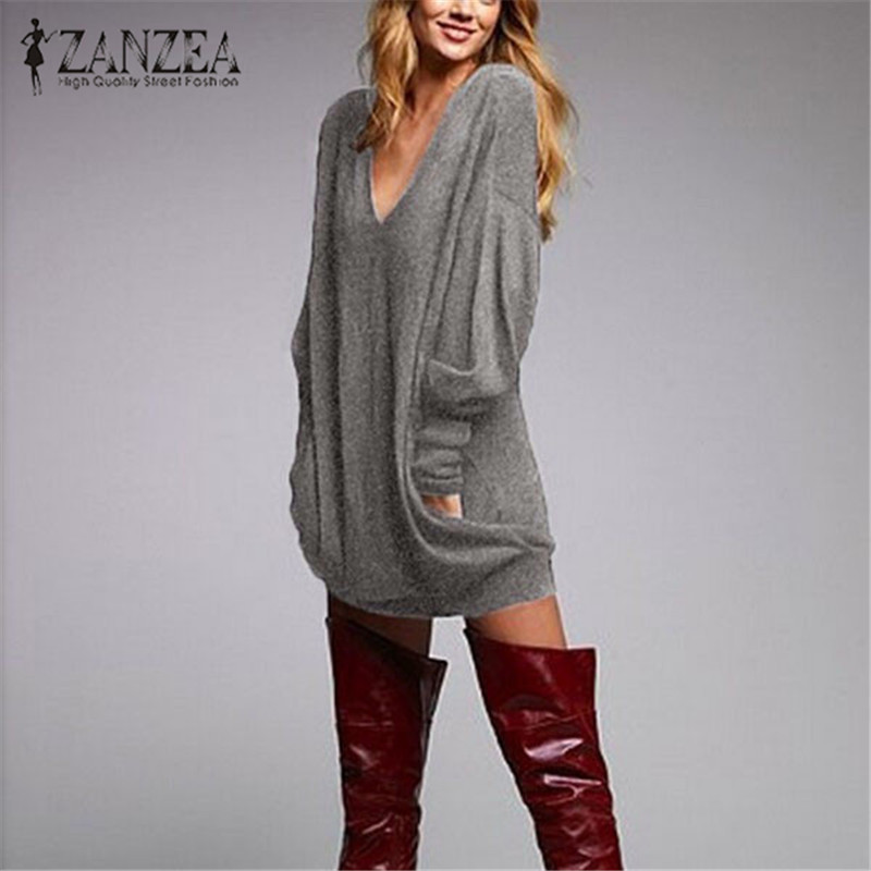 ZANZEA 2019 <font><b>Autumn</b></font> Women Long Blouse Shirt Long Sleeve Knitted <font><b>Sexy</b></font> V Neck Pullovers Casual Tunic Pull Femme Plus Size S-<font><b>5XL</b></font> image