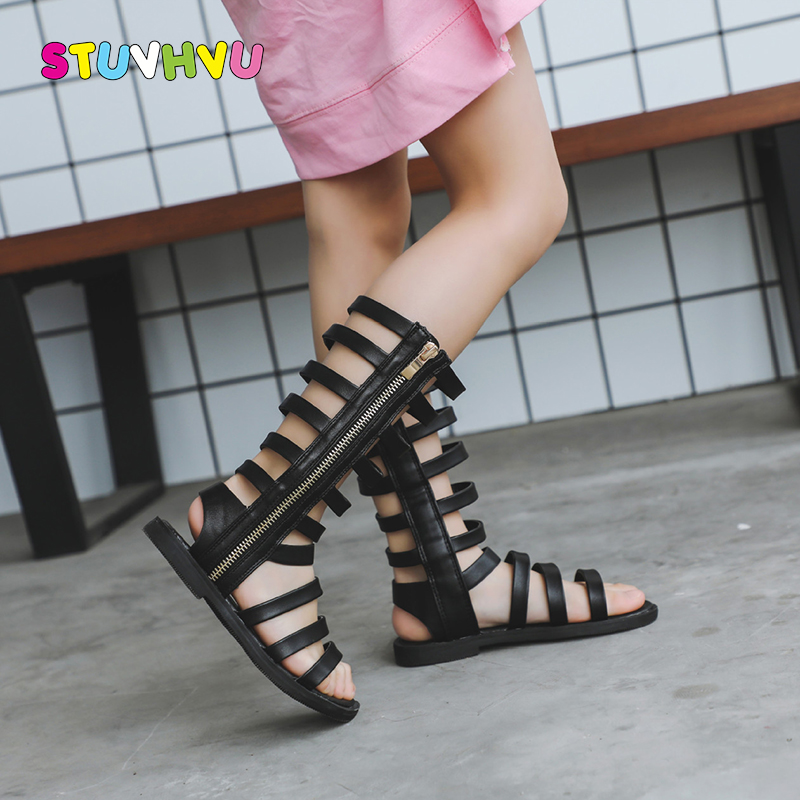 2020 Summer New Hollow Girls Roman Sandals Open Toe Breathable High-top Children Sandals Non-slip Leather Kids Shoes Flats 21-37