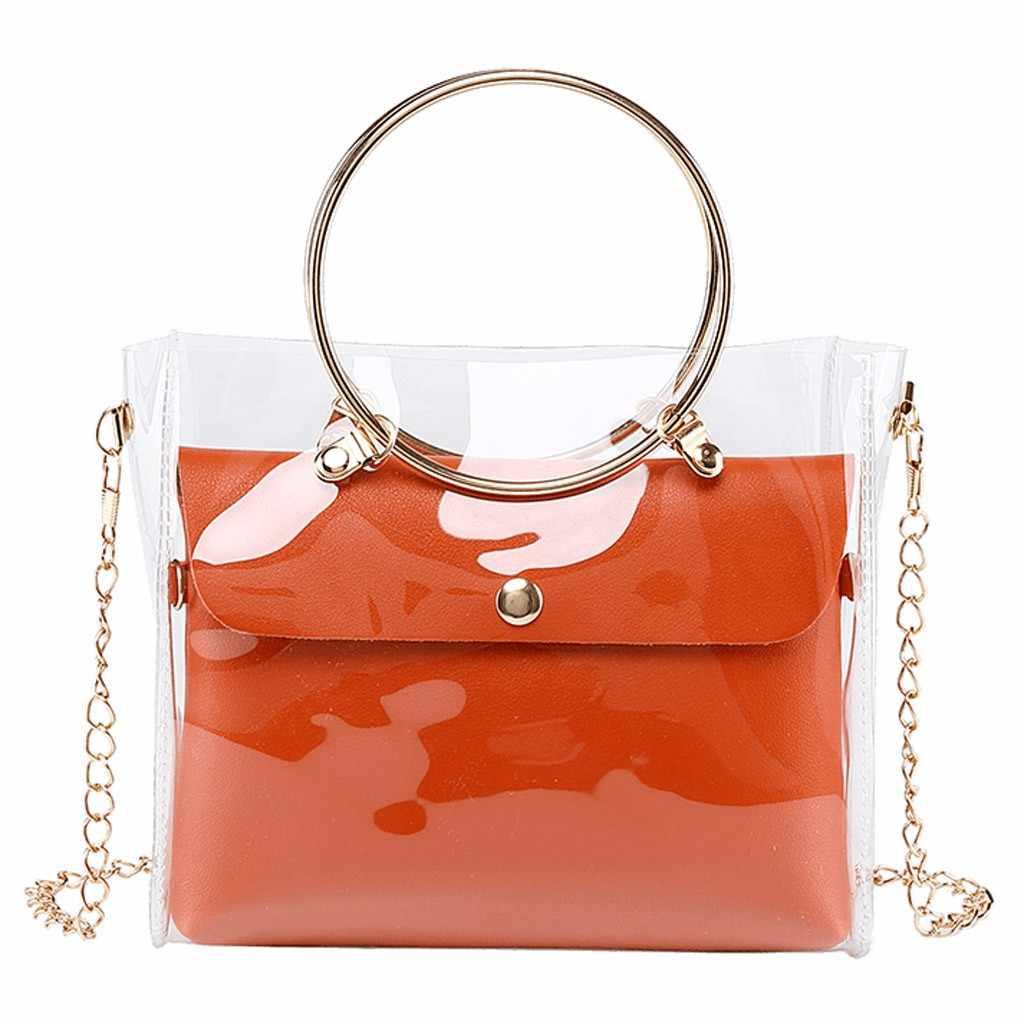 Vrouw Zakken Met Metalen Ring 2019 Messenger Bag Lady Schouders Jelly Pakket Handtas Portemonnee Mobiele Telefoon Tas bolso mujer