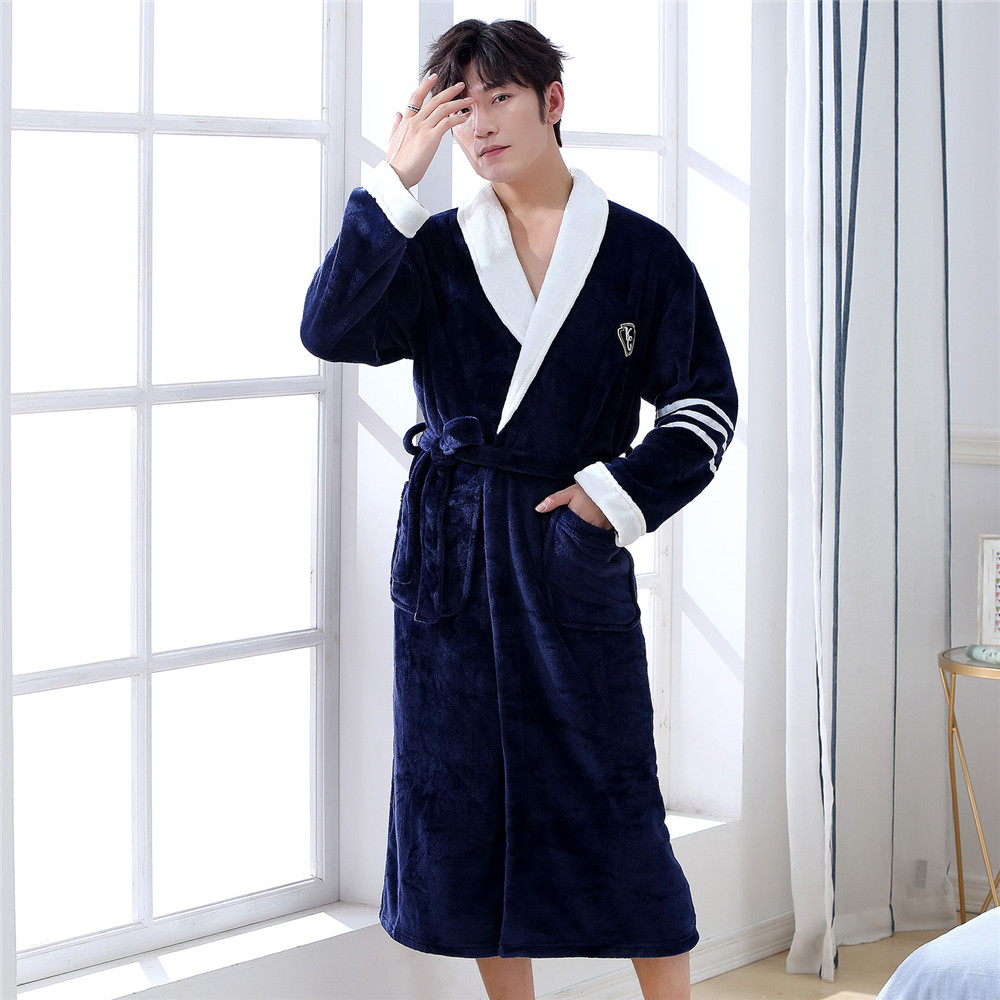 Warm Men Winter Home Wear Intimate Lingerie Short Navy Blue Coral Fleece Nightgown Kimono Bathrobe Gown Flannel Home Clothing