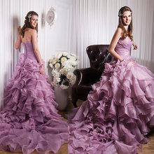 Бальное платье из органзы и горный хрусталь ТРАПЕЦИЕВИДНОЕ свадебное