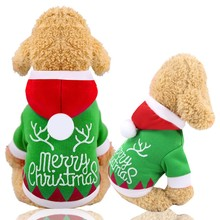 Dog clothes Christmas pet winter warm hooded jacket one-piece dog coat thickening