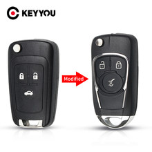 KEYYOU 2/3 botón Fob llave de auto modificada caso de Shell para Chevrolet Cruze Lova navegar Aveo para Opel Astra H J Corsa E Insignia