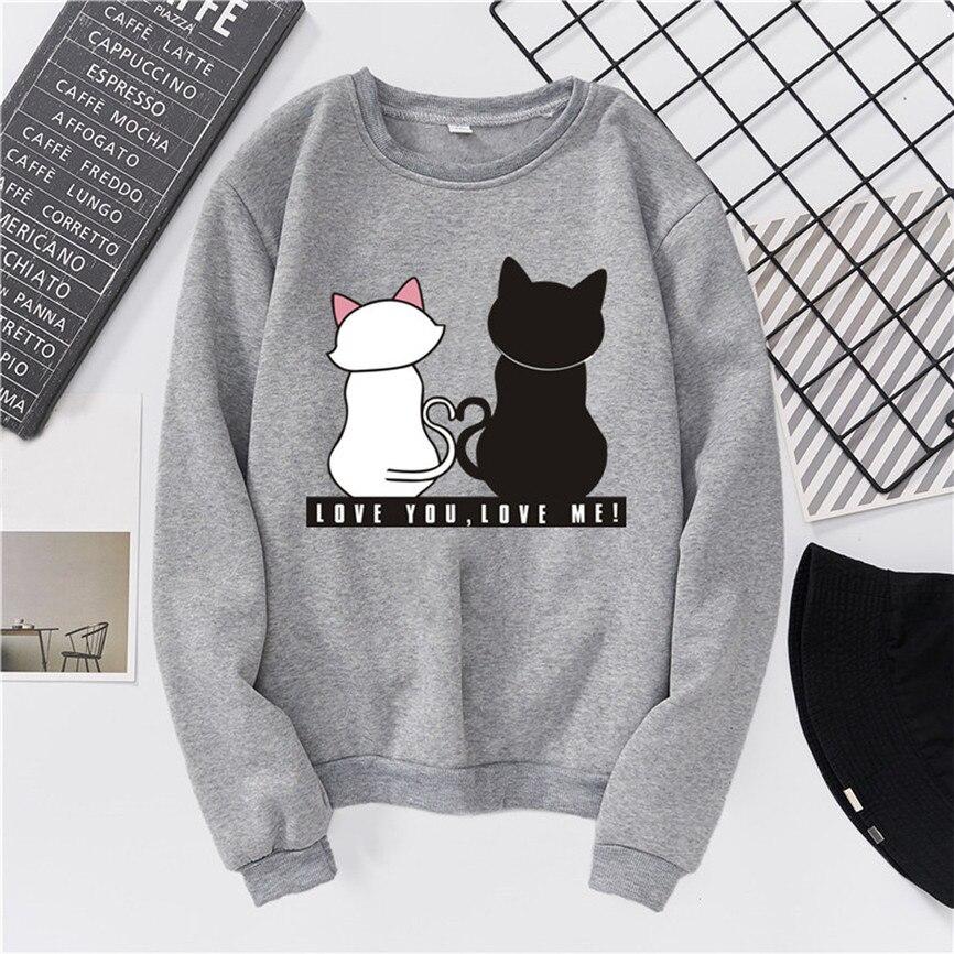 Korean style Fashion Fleece Unisex Men Women Casual Long Sleeve O-Neck Cat Printed Sweatshirt Pullover Plus Velvet Warm Top #45