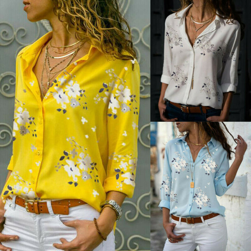 Women's Long Sleeve Casual Loose Blouse Shirt Ladies Floral Printed V Neck Button Blouse Shirts