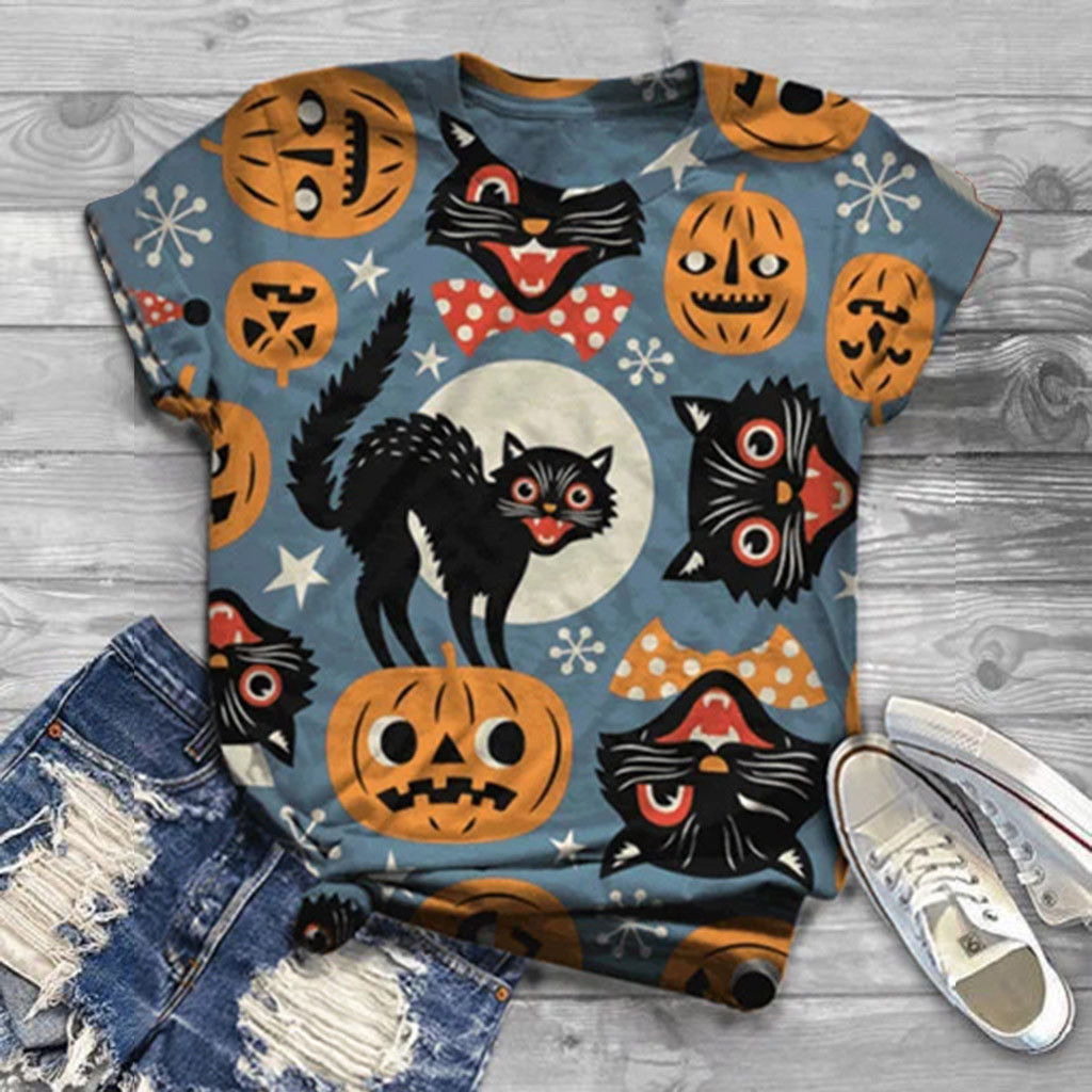 Halloween T-shirts Short Sleeved Fashion Cat Animal Head Printed Women's Blusas With Round Neck T-shirt футболка 2020 женская