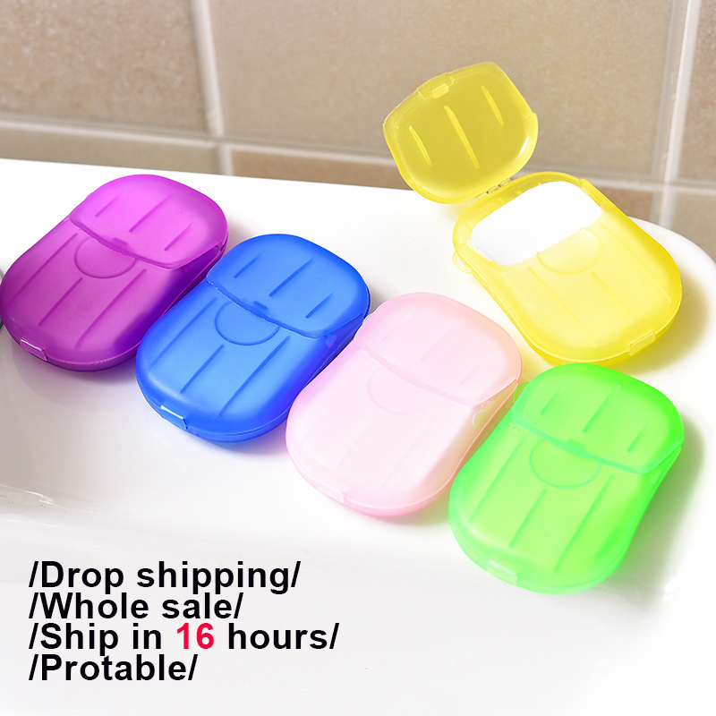 20Pcs/Pack Protable Disposable Soap Paper Clean Scented Slice Foaming Box Mini Paper Soap For Outdoor Travel Use 6 Colors