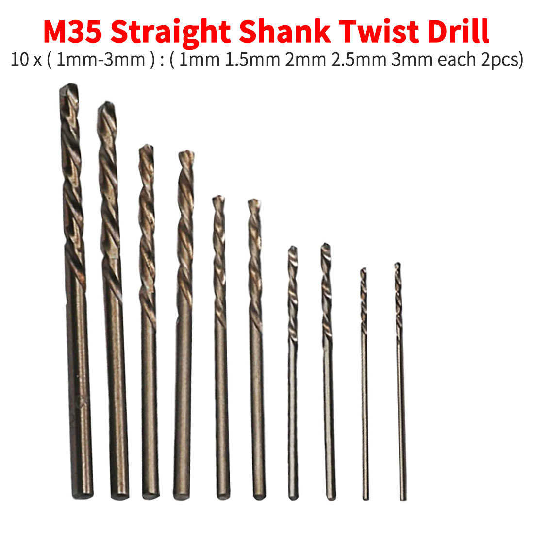 10pcs Twist Drill Bit Set HSS High Speed Steel Drill Bit Woodworking Wood Tool 1mm 1.5mm 2mm 2.5mm 3mm For Metal Aluminum