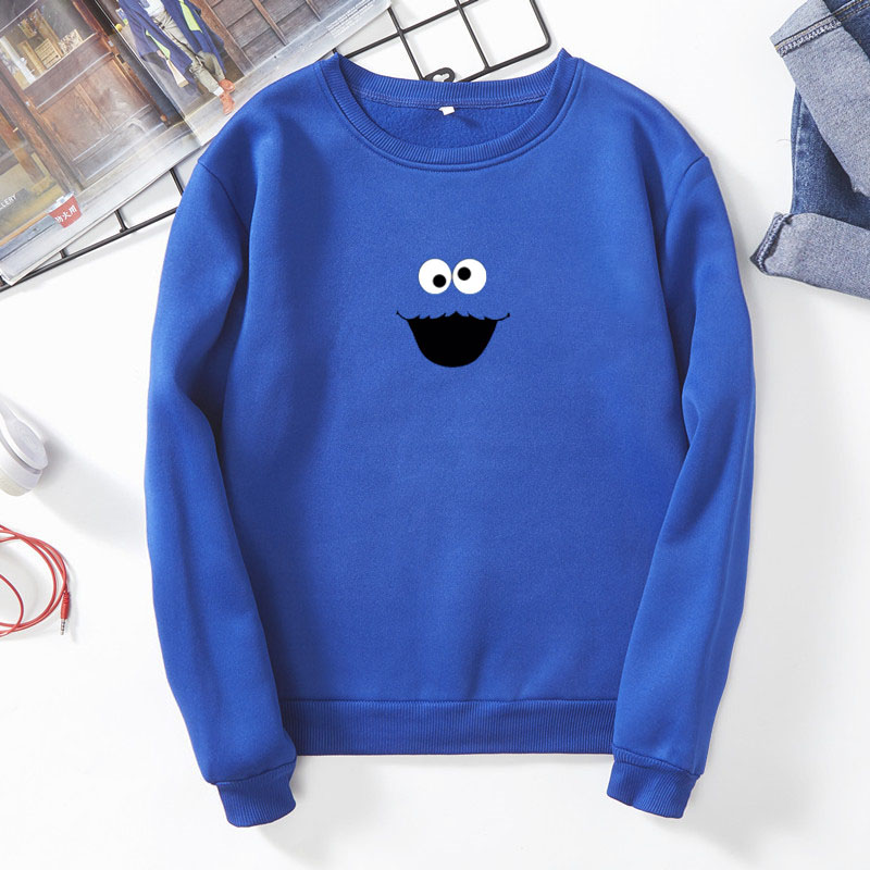 Sesame Street Sweatshirt Brand Sweatshirt Harajuku Fashion 2019 Round Neck Long Sleeve Plus Velvet Pullover Women Unisex Clothes