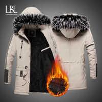 Abrigos de invierno para hombre chaquetas gruesas cálidas de lana 2019 para hombre Abrigos casuales a prueba de viento con piel con capucha Parkas para hombre casaco masculino
