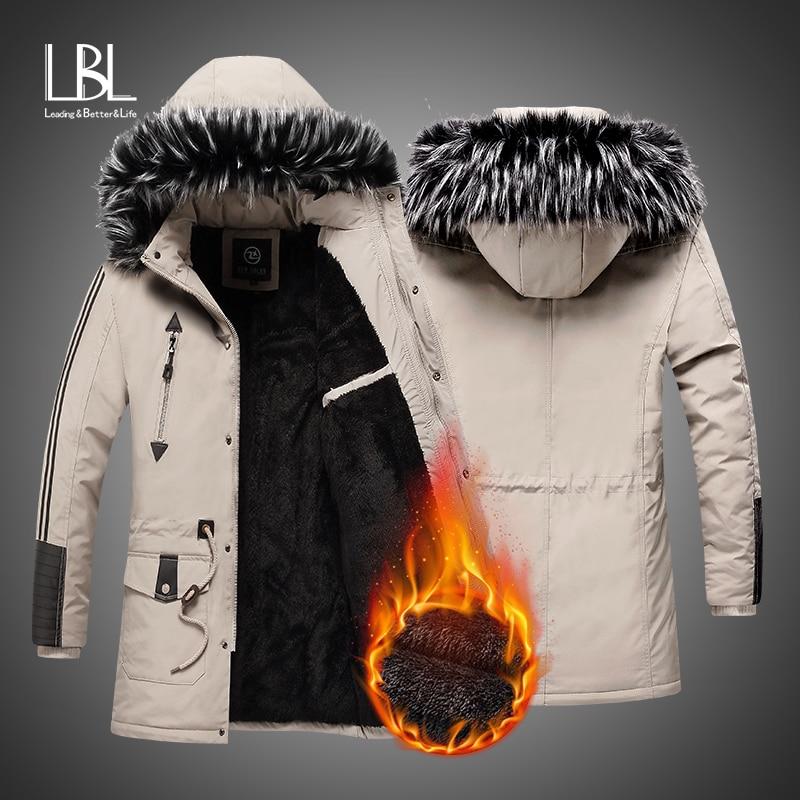 Casacos de inverno dos homens de lã quente grosso jaquetas 2019 outerwear à prova de vento casaco casual com capuz de pele dos homens parkas casaco masculino
