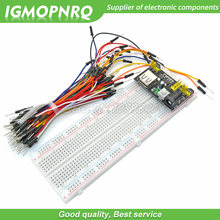 Mb102 breadboard módulo de potência + MB-102 830 pontos solderless protótipo pão placa kit 65 fios jumper flexíveis