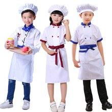 Новая детская форма шеф-повара для мальчиков, косплей, кустом, кухонная куртка, фартук, шляпа, набор, Униформа, От 3 до 14 лет, одежда для девочек повара