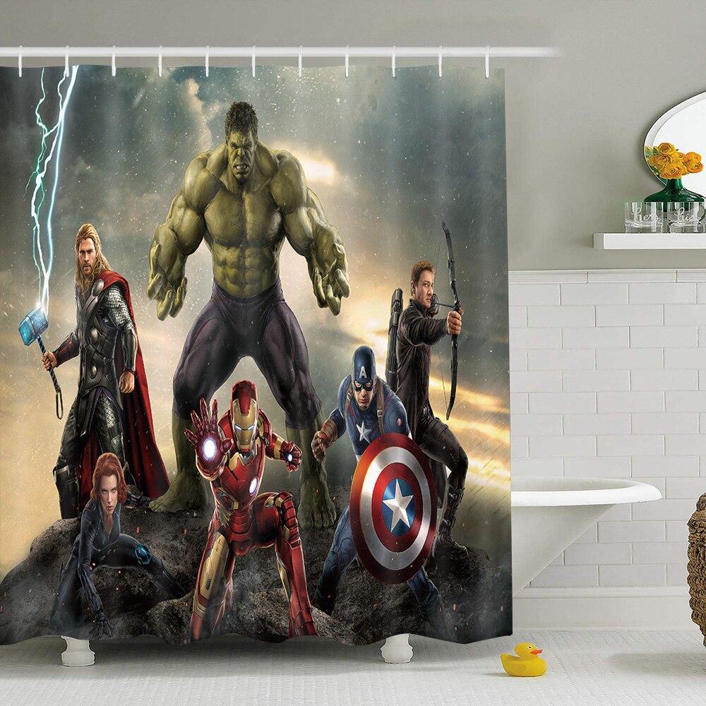 72x72inch Hulk Shower Curtain,Superhero Cartoon Bathroom Accessories for Funny