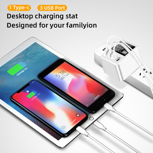 Image 5 - 30W chargeur rapide QC3.0 PD Micro USB type c téléphones chargeur rapide 3 Ports USB + 1 type c Port affichage LED pour Huawei iPhone Xiaomi