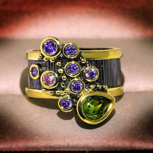 Fashion Jewelry Wedding-Rings Exaggerated Two-Tone Vintage Creative Cubic-Zirconia Women