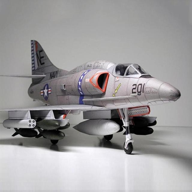 American A-4 Skyhawk Attack Aircraft Paper Model DIY Plane Paper Aircraft Model Attack R9P8 3