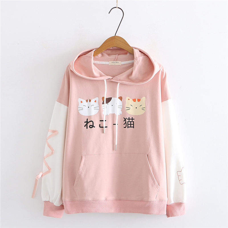 Lolita Harajuku Kawaii Hoodie With Ear Women Print Graphic Japanese Clothes Cute Cartoon Cat Pink Sweatshirt Teen Girl Pullover