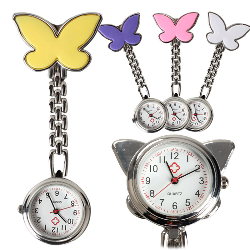 Fashion Butterfly Nurse Table Pocket Watch With Clip Brooch Chain Quartz Watches XRQ88
