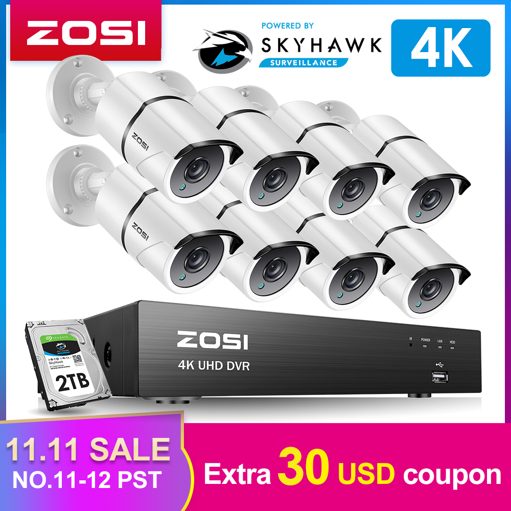 ZOSI 4K 8CH Ultra HD CCTV Camera System H.265+ DVR Kit with 2TB HDD 8PCS 8MP TVI Outdoor Home Video Security Surveillance System-in Surveillance System from Security & Protection