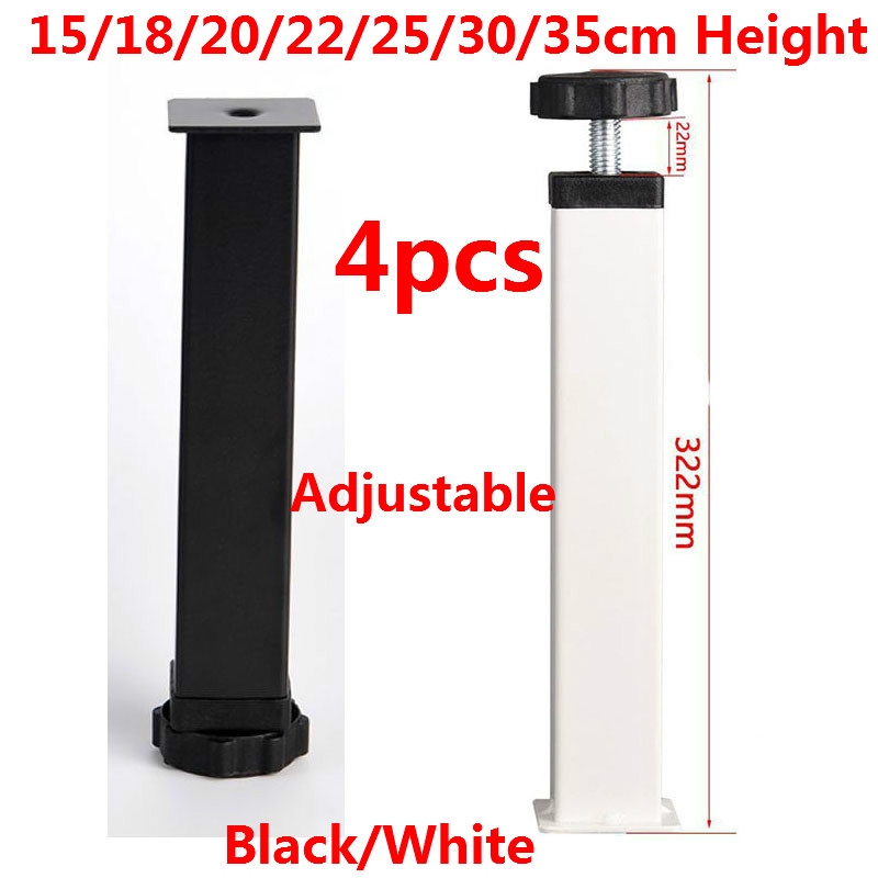 4pcs Cold Rolled Steel Adjustable Furniture Legs Feet Replacement Table Cabinet Legs 15/18/20/22/25/30/35cm Height Black/White