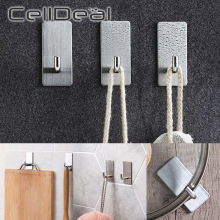 Stainless Steel Wall Hook Self Adhesive Sticky Kitchen Home Bathroom Key Bag Hanger Storage Hanging Holder Waterproof Towel Rack