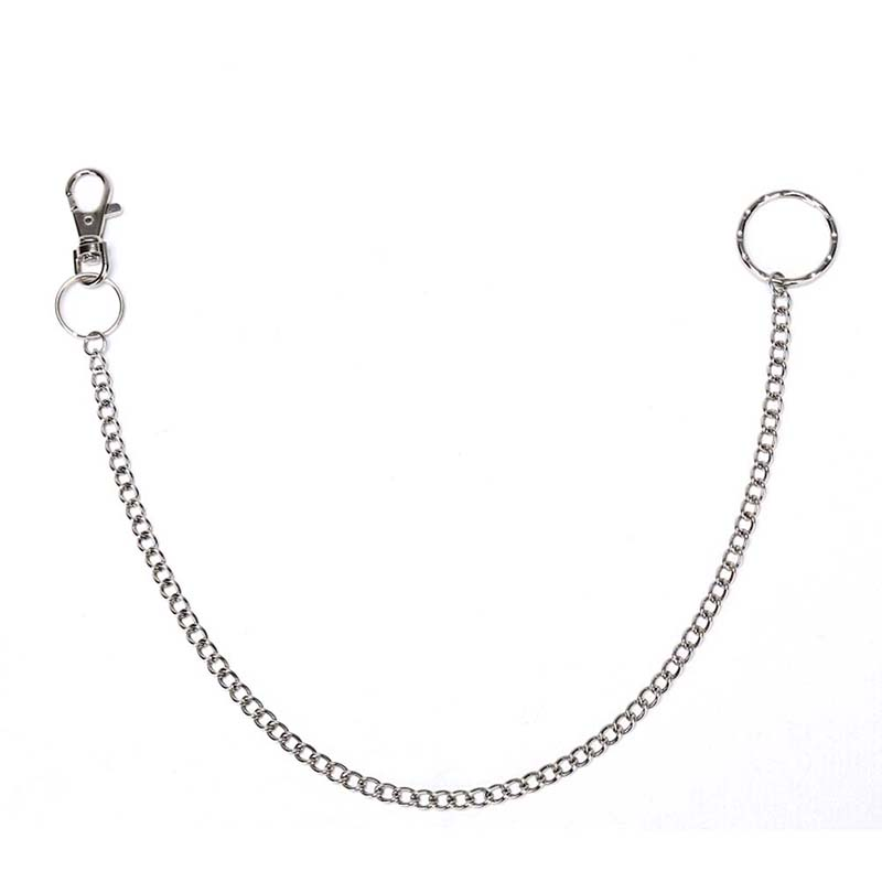1PCS 38cm Metal Wallet Belt Chain Rock Punk Trousers Hipster Pant Jean Keychain Silver Ring Clip Keyring Men's HipHop Jewelry