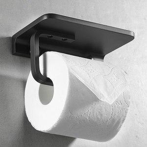 Image 2 - Bathroom Toilet Paper Holder with Mobile Phone Storage Shelf, Tissue Holder Paper Roll Dispenser Wall Mounted Black/Brushed