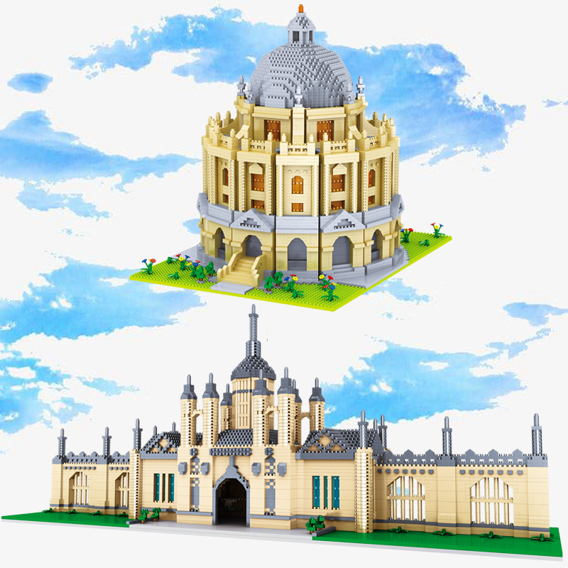 New 4799pcs+ World Famous Architecture Building Blocks Cambridge University Oxford Model Micro Bricks Toys For Children Gift