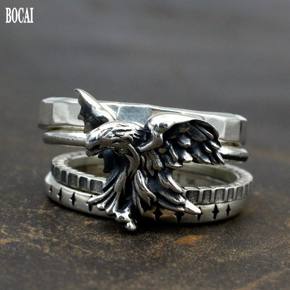 Thai Silver Eagle Ring For Man 2020 New Real S925 Pure Silver Handmade Dark Pioneer 4-ring Stacking Combination Man Ring